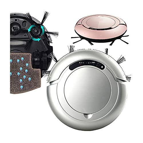 DSMGLRBGZ - Aspirador robot lavador, anticolisión, antienredos, autoguiado, 15 grados de escalada, cepillo lateral alargado, color plateado