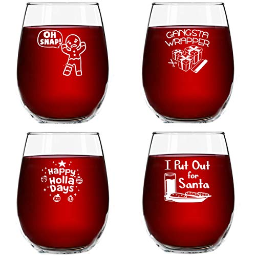 Christmas Puns Funny Stemless Wine Glasses (Set of 4)
