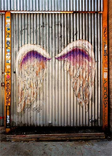 AOFOTO 5x7ft Graffiti Wings on Wall Photography Backdrop Grunge Street Doodle Background Grotesque Painted Fallen Angel Studio Props Fashion Youngster Rock and Roll 70s 80s 90s Party Vinyl Wallpaper