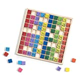 ROBUD Wooden Multiplication & Math Table Board Game, Kids Montessori Preschool Learning Toys Gift for Toddlers Aged 3 Years Old and Up - 100 Counting Wooden Building Blocks