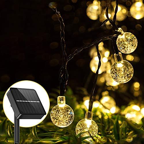 Catena Luminosa Esterno Solare - Aerb 50 LEDs 9.2m Luci da Giardino con Pannello Solare Più Grande IP65 Impermeabile per Interni Terrazzo Balcone(Bianco caldo)