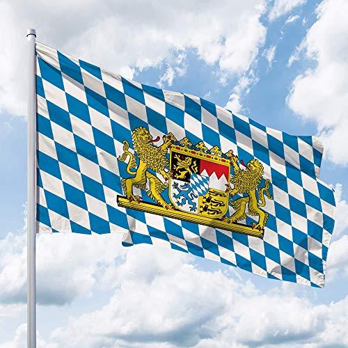 Deitert Bundesland-Flagge Bayern – 150x100 cm Bayern-Flagge mit Löwen-Wappen (Raute), Hissflagge aus reißfestem Polyester, Bayern-Fahne mit Doppelsicherheitsnaht gesäumt