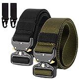 Chalier 2er Unisex Gürtel Cinturón, verde militar + negro, Talla única para Hombre