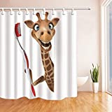 CDHBH Lustige Tier Decor Giraffe Pinsel Zähne Polyester-3D Cartoon-Wasserdicht Bad Vorhang 180,3x 180,3cm Duschvorhang Haken Enthalten Braun