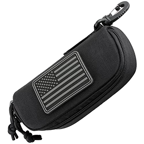 WYNEX Tactical Molle Glasses Pouch, Tactical Eyeglasses Hard Case Sunglasses Carrying Case Protective Box with Clip