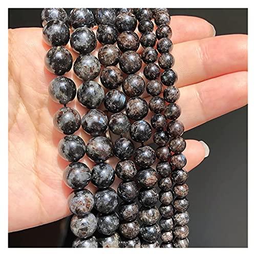 Heinside Cuentas trenzadas de piedra de caoita negra natural, redondas, sueltas, espaciadoras para hacer joyas, pulseras, accesorios de 6/8/10 mm, diseños (diámetro del artículo: 8 mm, 46 unidades)