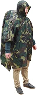 BlueField Waterproof Multi-Function Backpack Cover One-Piece Poncho Raincoat Mat, Camouflage