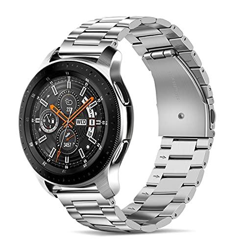 Tasikar Compatible with Huawei Watch GT2 46mm / Garmin Fenix 5, 22mm Stainless Steel Watch Straps Replacement Bracelets for Samsung Galaxy Watch 46mm / Watch 3 45mm / Gear S3 (Silver)