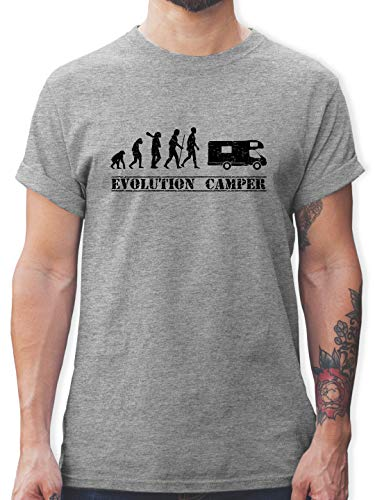 Evolution - Evolution Camper - L - Grau meliert - t+Shirt campen Evolution - L190 - Tshirt Herren und Männer T-Shirts