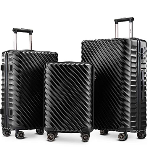Luggage Set 3 Pieces- Hard Shell Suitcases Cabin Hand Travel Wheels ABS+PC Case with Lock (Dark Black)
