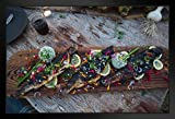 Fresh Fish Trout Grilled On A Cedar Plank Photo Black Wood Framed Poster