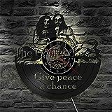 CHANGWW Un Juego de 1 Pieza de Reloj de Pared de Vinilo Hippie le da a la Paz una...