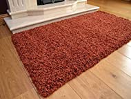 Soft Touch Shaggy Rust Thick Luxurious Soft 5cm Dense Pile Rug. Available in 7 Sizes (80cm x 150cm)