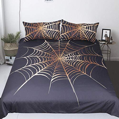 Juego de Cama de araña Impresa en 3D para niños Adolescentes Patrón de Tela de araña Juego de Funda nórdica 220 x 240 cm Bronceado telaraña Microfibra Funda nórdica Muy Suave Hipoalergénica