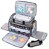 Luxja Nähmaschinen-Tragetasche, Reisetasche mit mehreren Fächern, passend für die meisten Standard-Nähmaschinen und Zubehör grau