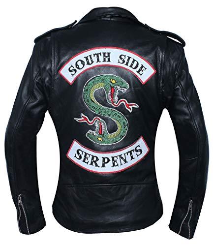 SAMA Brands Chaqueta Motera de Cuero Negra Riverdale Southside Serpents Mujer - Chaqueta de Cuero Real (M-Fit 35-36 Pulgadas tamaño Real del Pecho)