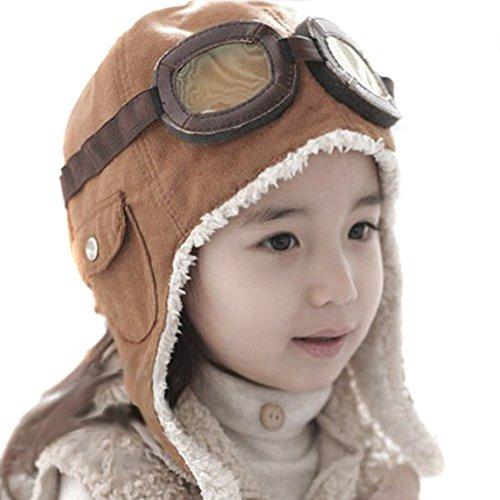 Lucky Will Baby Kids suave de invierno gorro de calentador Cool Pilot Aviator Gorra de gorro de lana con orejeras marrón