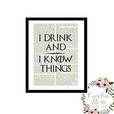 I Drink And I Know Things GOT Game Of Thrones Tyrion Lannister Farmhouse Upcycled Book Art 6x8 Box Framed