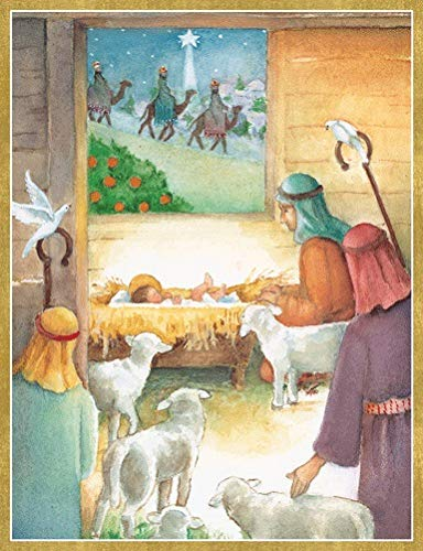 Religious Christmas Cards Boxed Holiday Cards Christmas Greeting Cards Pk 10 Embossed Cards & Envelopes Creche