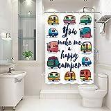 JAWO RV Duschvorhang für Wohnmobil, Wohnmobil, Wohnmobil, Camping, Badezimmer, You Make Me A Happy Camper, Stall Duschvorhang mit Haken-Set, 119,4 x 162,9 cm