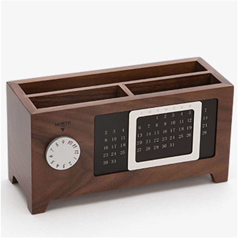 Holz, ewiger Kalender, Stifthalter, kreativ, MultifunktionsAufbewahrungsbox aus Massivholz, Bürobedarf aus Holz, Aufbewahrungsbox für Schreibwaren (Farbe   Walnut color, ausgabe   Three grids)