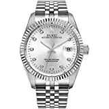 BUREI para Hombre Formal automático Relojes con Elegante Cara Datejust Banda de Metal Cristal de Zafiro
