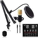 Kit de micrófono de Condensador, Equipo de Tarjeta de Sonido, Juego de micrófono BM-800, Soporte de Choque de Metal, con Brazo de Tijera de suspensión Ajustable, Filtro Pop de Capa 12 Modos