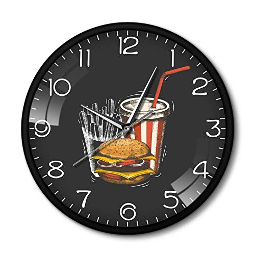 Buzdao Best Fast Food in Town Modern Wall Clock Hamburger French Fries Soda Traditional Taste Takeaway Fast Food Restaurant Wall Clock-Metal_Frame