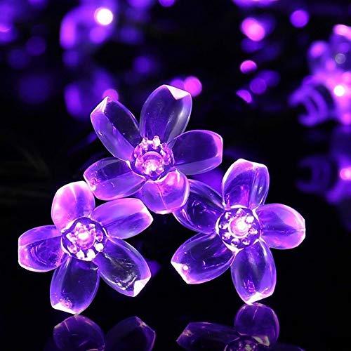 Solarlampen Blumen Schnur Lichter Außen,KINGCOO Wasserdicht 23ft/7m 50 LED Pfirsichblüte Kirschblüte Solar Lichterkette für Gärten Häuser Hochzeit Weihnachtsfeier Dekorationen(Lila)