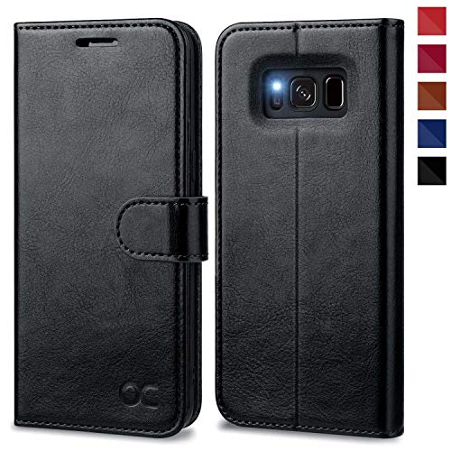 OCASE Samsung Galaxy S8 Hülle, Handyhülle Samsung Galaxy S8 [Premium Leder] [Standfunktion] [Kartenfach] [Magnetverschluss] Schlanke Leder Brieftasche für Samsung Galaxy S8 (5,8 Zoll) (Schwarz)