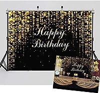 HD 7x5FTハッピーバースデーの背景写真の黒とゴールドのキラキラボケ背景赤ちゃん大人高齢者誕生日抽象的なバナーケーキ写真背景スタジオ小道具11835
