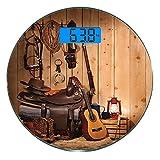 Pèse-personne numérique de précision Ronde Western par Dimensions précises de poids de la balance de salle de bains en verre trempé ultra mince,Bottes de cow-boy de guitare country américaine de style