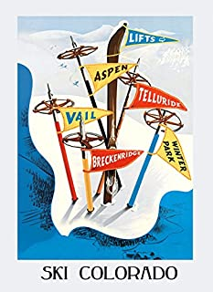 Ski Skiing Winter Sport in Colorado Vail Aspen Lifts Telluride Winter Park Breckenridge Vintage Poster Repro 16