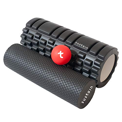 Edge Sports 2 in 1 Foam Roller + Ball | Best for Deep Tissue Muscle Massage, Physio, Yoga & Back Exercise to Roll Muscles, Legs or Calf | Trigger Point Therapy Set for Gym, Fitness, Pilates & Runners