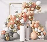 Paquete de 130 guirnaldas de globo, color gris, melocotón dorado, arco de globo, boda, despedida de soltera, fiesta de cumpleaños, decoración de fiesta