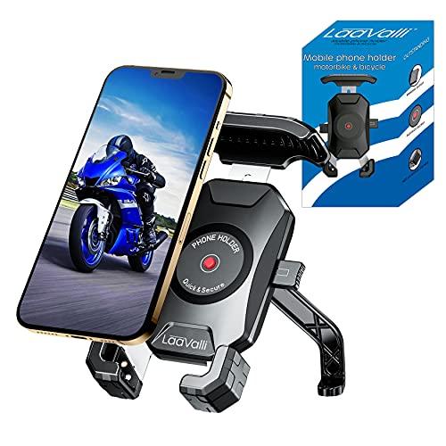 """Porta cellulare moto scooter fissaggio allo specchietto retrovisore e 4 bracci in alluminio Compatibile con telefoni cellulari fino a 7,5"""" Protezione totale per smartphone supporto cellulare moto"""
