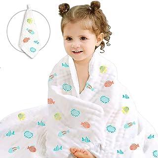 Caiery Baby Washcloths Soft | Bamboo Cotton Baby Muslin Washcloth | Baby Blanket for Newborn | Baby Organic Cotton Muslin ...