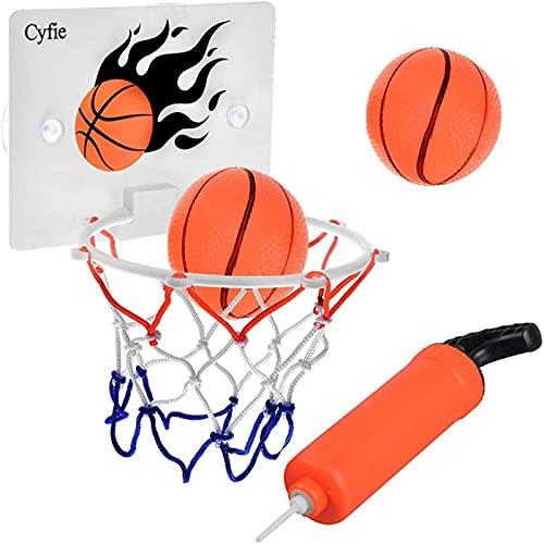 DEWEL Juguetes de Baño Bebe Pelota Aro de Baloncesto para niños con Ventosa Fuerte Fácil de Instalar con Dos Pelotas y Inflador Canasta Baloncesto Infantil