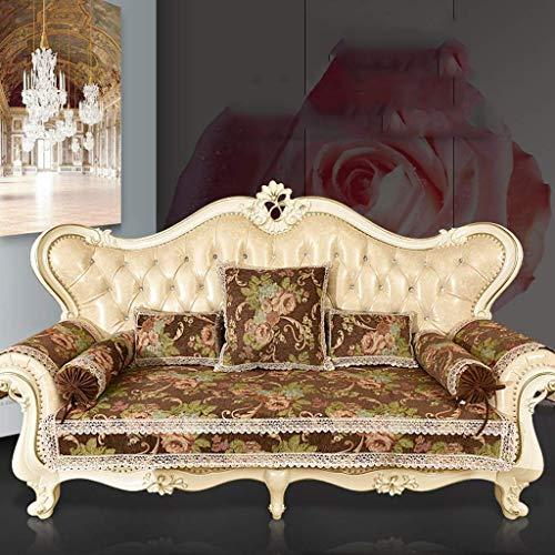 Europäischer Stil sofa schonbezug stretch, sofabezug ecksofa l form, Moderne Ecksofa Überzüge für Couch Startseite Four Seasons Folding Sofa Slipcover Couch Cover,Brown,Candy pillow 17*53cm+core