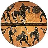 Reloj de Pared Silencioso Sin tictac, Antigua Grecia Escena Figura Negra Alfarería Mitología Griega Centauro Gente Dioses Olimpo Clásico