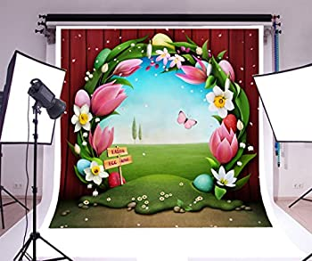 Laeacco 6x6ft Vinyl Backdrop Easter Egg Hunt Photography Background Festive Greeting Card Easter Egg Floral Wreath Garden Fairytale Flowers Butterflies Baby Girls Children Background Studio Prop