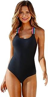 Women Bikini Swimwear One Piece Padded Pure Black Surface Backless Colorful Halter Bathing Suits Monokini Tummy Control Swimsuit Bodysuit