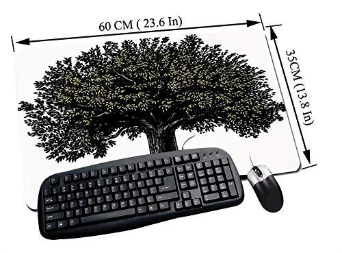 Gaming und Office Mauspad,Baum des Lebens, digitales Design eines reifen Obstbaumes im Retro-Gravurstil König des Waldes, Braungrün,mit vernähten Rändern und rutschfester unterseite60x35cm