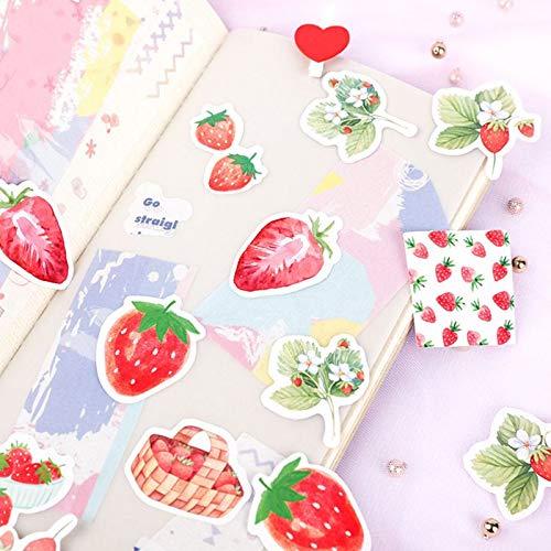 BLOUR 45Pcs / Lot Frucht Rosa Erdbeer Dekoration Papier Aufkleber DIY Album Tagebuch Scrapbooking Label Aufkleber
