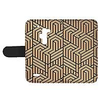 スマQ isai FL LGL24 国内生産 カード スマホケース 手帳型 LG エルジー イサイ エフエル 【A.ベージュ】 トリックアート風 シンプル ami_vd-0274