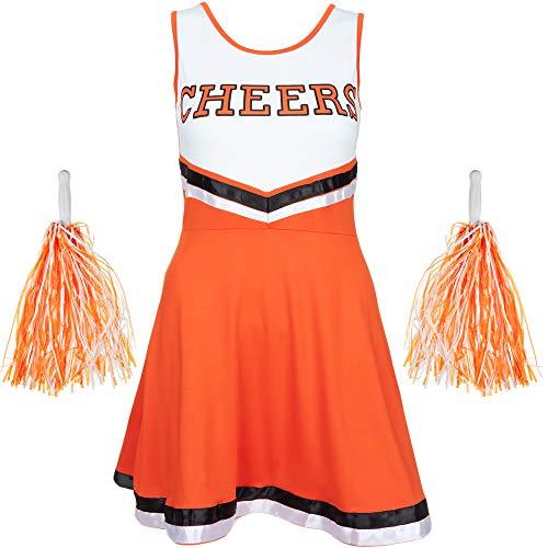 Redstar Fancy Dress - Damen Cheerleader-Kostüm - Uniform mit Pompons - Halloween, American High School - 6 Größen 34-44 - Orange - S