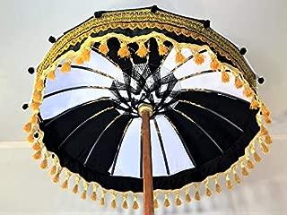 Black & White Umbrella- Bali Garden Umbrella, Wedding Umbrella, Hindu Umbrella, Indonesian Umbrella, Bali Festival Umbrella, Pool Umbrella, Black Umbrella, White Umbrella, Bali Ceremony Umbrella