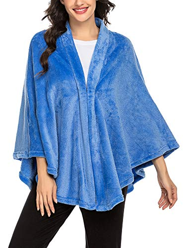 Maxmoda Winter poncho dames vintage elegant warm fleece open front cape wrap flanel faux
