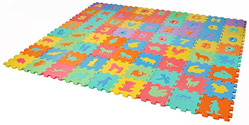 ISO TRADE Puzzlematte Spielmatte Bodenmatte 72 TLG. Spielteppich Kinderteppich Schutzmatte Kinderspielteppich Puzzleteppich Kinder 4495