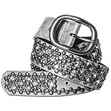 Caspar GU263 Cinturón para Mujer con Éstras Brillante y Remaches Varios Colores, Tamaño:90, Color:plata metalizado